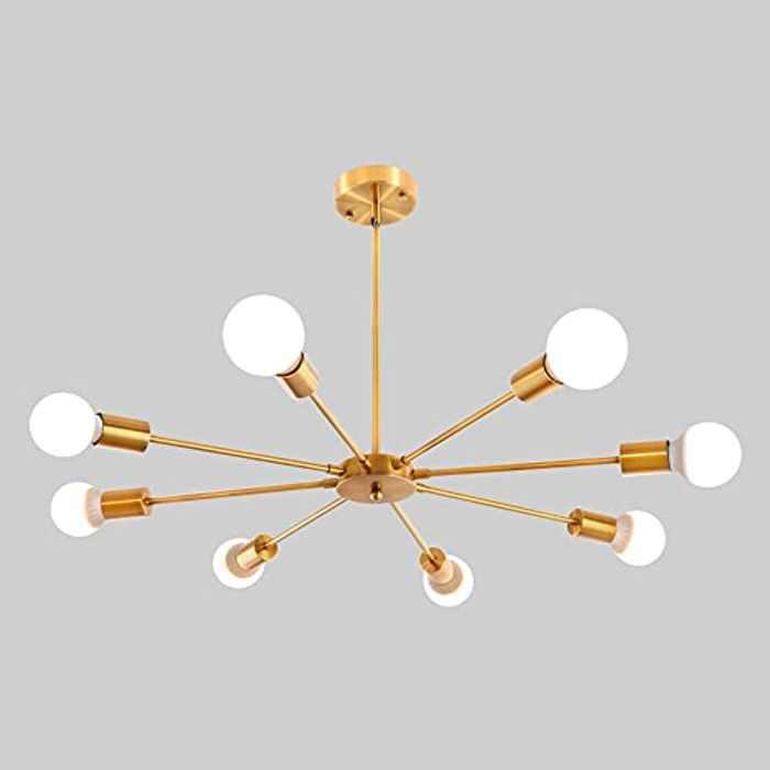 ASHUAQI Sputnik Chandelier, 8 Lights Modern Pendant Lighting, Industrial Vintage Ceiling Light Fixture for Kitchen, Dining Room, Living Room, Bedroom, Hallway
