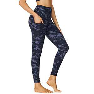 HIGHDAYS Printed Yoga Pants for Women with Pockets - High Waisted Tummy Control Women's Leggings for Workout Running Athletic(X-Large, Blue Camo)
