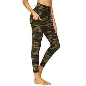 HIGHDAYS Printed Yoga Pants for Women with Pockets - High Waisted Tummy Control Women's Leggings for Workout Running Athletic(Large, Green Camo)