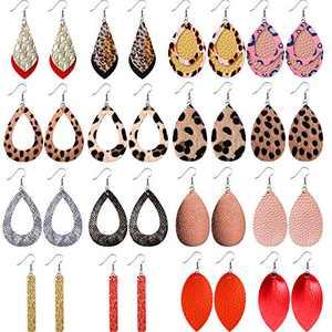 Faux Leather Drop Dangle Earrings 16 Pairs Teardrop Leaf Long Pendant Earrings Leopard Print Multicolor Christmas Earrings for Women
