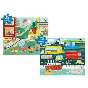 Puzzles for Kids Ages 4-8 Year Old, 2 Pack Colorful Kids Floor Jigsaw Puzzles 54-72 Pieces Early Educational Preschool Toddler Puzzles, Large Puzzle for Boys & Girls (2 Puzzles)