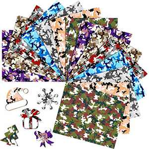 14 Sheets Camouflage PU Heat Transfer Vinyl 12 x 10 Inch Assorted Color Camo HTV Sheets Camouflage Pattern Iron-on Transfer Vinyl for Clothing T-Shirts Hats Bags DIY Craft, 7 Patterns