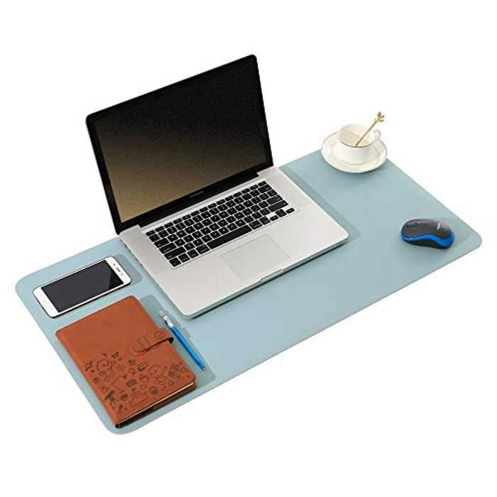 ARNTY Laptop pad,Office Desk Mat Dual-Sided Leather Computer Pad Ultra Thin Large Waterproof Mouse Pad Desk Writing Pad for Office Work/Home/Decor (Blue&Grey, 60 * 35cm)