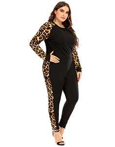 PYL Women Plus Size 2 Pieces Fall Outfit, Leopard Print Tracksuits Sweatshirt Jogging Suit Long Sleeve Pant Set (L-6XL)