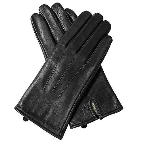 Sanfiland Sheepskin Leather Gloves for Men Winter Warm Cold Weather Thermal Cashmere Lined Black Driving Motorcycle (Style_B, 7)