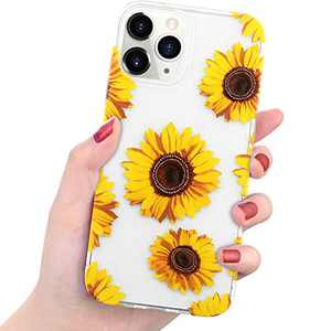 "Charlam Compatible with iPhone 12 Case Compatible with iPhone 12 Pro Case 6.1"" 2020 - Premium Hard PC + TPU Anti-Scratch Shock-Proof Bumper Protective Case Stylish Clear Pattern Case Cover, Sunflower"