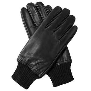 Sanfiland Sheepskin Leather Gloves for Men Winter Warm Cold Weather Thermal Cashmere Lined Black Driving Motorcycle (Style_A, 7.5)