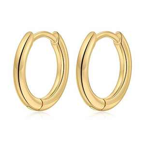 Small Gold Hoop Earrings for Women Girls, S925 Sterling Silver Post 10MM Tragus Sleeper Earring Hypoallergenic Jewelry Gold Hoop Earrings for Women Sensitive Ear