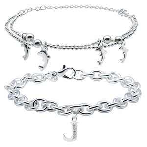 BLINGMC Initial Bracelets for Women Layered Bracelets for Women Dolphin Gifts Best Friend Bracelets Birthday Christmas Valentine's Day Gift for Women Girls