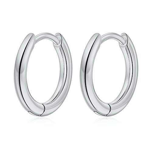 Small Hoop Earrings for Women Girls, S925 Sterling Silver Post Little Catilage Hoop Earring Hypoallergenic White Gold Hoop Earrings for Women Ear Jewelry 10MM