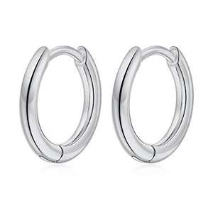 Small Hoop Earrings for Women Girls, S925 Sterling Silver Post Little Catilage Hoop Earring Hypoallergenic White Gold Hoop Earrings for Women Ear Jewelry 10MM