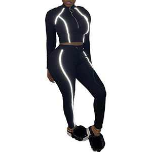 Women's 2 Piece Outfits Sweatsuit Set Long Sleeve Pullover Sweatshirts Skinny Long Pants Tracksuits Jogging Suits Jumpsuits,Reflective Black,Large