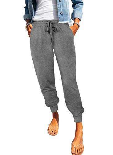 onlypuff Women's Yoga Workout Lounge Pant Elastic Waist Pants Casual Stylish Trousers Light Gray XXL