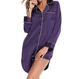 Lu's Chic Women's Short Nightgown Button Down Nightshirt Satin Sleepshirt V Neck Nightdress Soft Nightshirt Notch Collar Loungewear Pajama Long Sleeve Shirt Sleeping Sleepwear Purple Medium