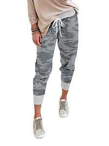 onlypuff Womens Jogging Pants Elastic Waist Print Pocket Lounge Pant Plus Size Camo Gray XXL.