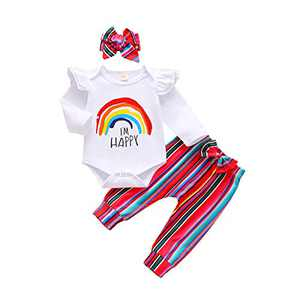 Baby Girl Fall Outfits 0-3 Months Newborn Girl Clothes Rainbow Long Sleeve Onesies Shirt Sweatshirt Top Striped Pant Sets Infant Outfits 3-6 Months with Bowknot Headband