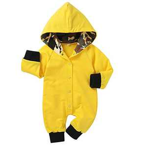 Newborn Baby Unisex Solid Winter Color Hooded Onesies Romper(Yellow 9-12 Months)