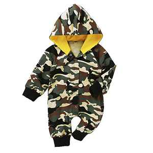 Newborn Baby Unisex Camo Fall Winter Hooded Onesies Romper(Camo 3-6 Months)