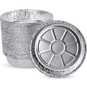 """(50 Pack)PARTY XIAFEI Disposable 9"""" Aluminum Round Foil Pans , Homemade Cakes & Quiche , Baking Small Goodies Roasting Food, Oven Safe Foil Tins Easily Stack & Store, Freeze & Reheat"""