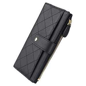 Ladies wallet, multi-colored striped wallet (black)