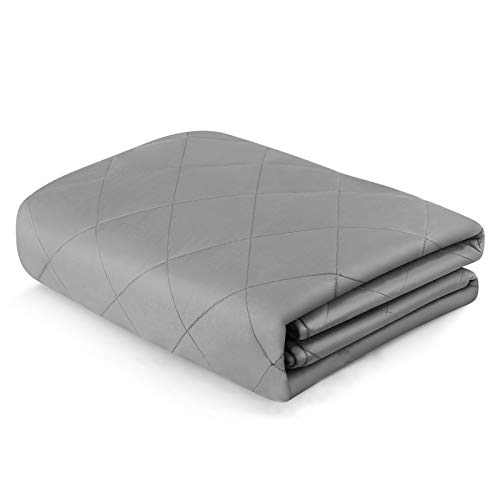 "YOLIPULI Weighted Blanket 20 pounds, 60"" x 80"" Adult Heavy Blanket for Queen Size Bed, 100% Cotton and Glass Beads, Light Gray"