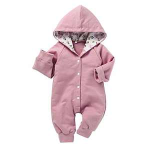 Newborn Baby Unisex Solid Winter Color Hooded Onesies Romper (Pink 6-9 Months)