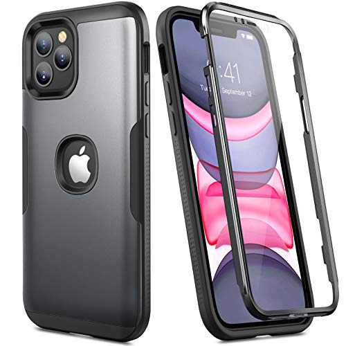 YOUMAKER Designed for iPhone 12 Pro Max Case with Built-in Screen Protector, [Military Grade Drop Tested] Shockproof Protective Phone Case Slim Fit Cover 5G 6.7 inch - Black