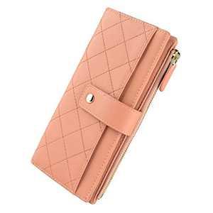Ladies wallet, multi-colored striped wallet (Pink)