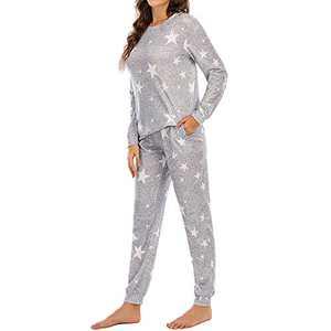 Lu's Chic Women's Long Sleeve Pajama Set PJ Pants 2 Piece Jogger Sleepwear Star Loungewear with Pocket White X-Large