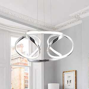 CHYING Modern LED Chandeliers 40W Chic Irregular Ring Pendant Lights 39.4inch Warm White 3000K Adjustable Ceiling Lighting Fixture for Dining Room Living Room Restaurant Bedroom