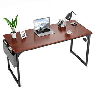 Yerivei Writing Computer Desk 39 inch Home Office Study Table, Modern Simple PC Laptop Gaming Work Desk Workstation with Storage Bag and Iron Hook, Teak