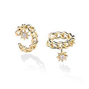 Dainty Hoop Ear Cuff 14K Gold Plated Cubic Zirconia Huggie Clip-on Cartilage Earrings Stud for Women (C - Flower CZ)