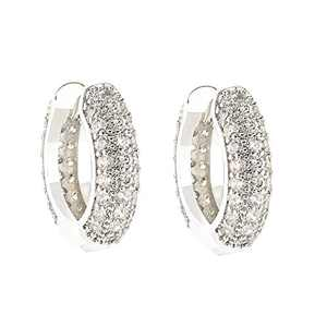 Hoop Earrings for Women Thick 18K White Gold Plated CZ Cubic Zirconia Crystal Gold Hoop Earrings for Women Jewelry Bridal Earrings for Wedding Prom Anniversary