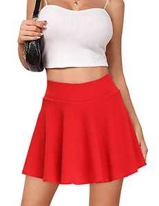 High Waisted Pleated Skirts for Women Girls Skater Tennis Skorts with Shorts Pockets Cute Mini A-Line Skirt (Skater Red, Small)
