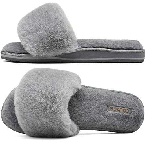COFACE Womens Sliders Plush House Slippers Flat Sandals for Women Memory Foam Fuzzy Open Toe Slippers with Arch Support Anti Skid Ladies Slip On Fur Slide Slippers House Shoes Mules Indoor Outdoor