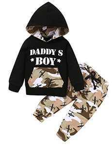 Shalofer Baby Boy Camouflage Hoodies Toddler Daddy's Boy Outfits (Camouflage,6-12 Months)