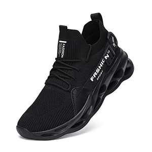 Nihaoya Black Shoes Mens Running Breathable,Comfortable Running Sneakers for Mens All Black Size 9.5