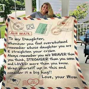 N/H Letter Fleece Blanket Personalized to My Daughter or Son Air Mail Blanket from Mom Postcard Postage Blanket Positive Energy Flannel Blanket Gifts for Christmas,Thanksgiving,Birthday (5060IN MOM1)