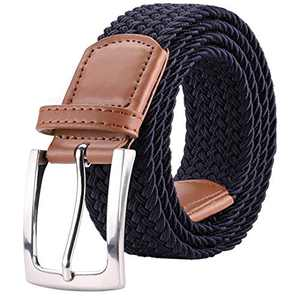 "ToyRis Men's Elastic Braided Belt Stretch Woven Casual Belt for Men and Women in Gift Box, Width 1 3/8"" (navy-b, 42""-46"")"