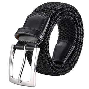 """ToyRis Men's Elastic Braided Belt Stretch Woven Casual Belt for Men and Women in Gift Box, Width 1 3/8"""" (black-b, 46""""-50"""")"""