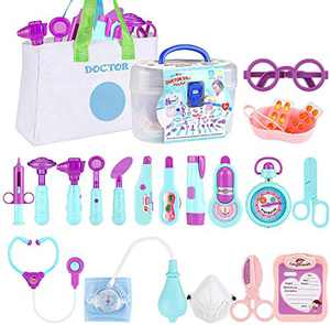 JURSTON Toys Doctor Kit for Kids,24 Pcs Pretend Play Medical Set with Storage Bag Stethoscope,Kids Doctor Playset for 3 4 5 6 7 8 Ages Toddlers Boys Girls