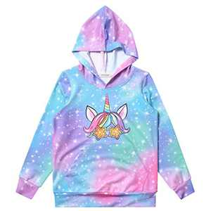 Girls Long Sleeve Winter Hoodie Galaxy Unicorn Pullover Fall Sweatshirt Horse Top 12t 13t