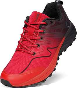 WHITIN Men's Trail Running Shoes, Size 8 Comfortable Lightweight Breathable Mesh Hiking Footwear Sneaker for Male Sport Athletic Jogging Tennis Workout Road Fitness Gym Red 41