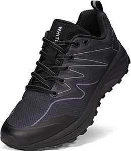 WHITIN Men Trail Running Shoes, Size 8 Mesh Lightweight Comfortable Breathable Male Hiking Workout Road Fitness Gym Jogging Sneaker All Black 41
