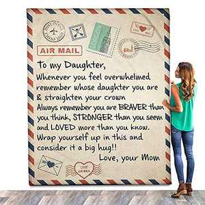 Fleece Blanket to My Daughter Letter Printed Quilts Personalized Air Mail Blanket from Mom Dad Healing and Positive Energy Blanket Encourage and Brave Fleece Blanket Gift for Daughter.