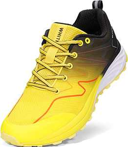 WHITIN Mens Trail Running Jogging Shoes, Size 8 Tennis Lightweight Athletic Breathable Comfortable Mesh Outdoor Sport Hiking Sneaker for Male Workout Footwear Road Fitness Yellow 41