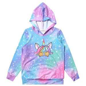 Girls Long Sleeve Unicorn Sweatshirts Rainbow Winter Pullover Kangroo Fall Hoodie for Kids 10t 11t