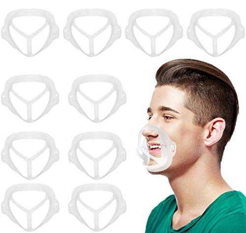 3D Mask Bracket Internal Support Frame Mask Braces, 10 PCS Mask Frame Mask Extenders Help Breathe Smoothly and Protect Lipstick Lips