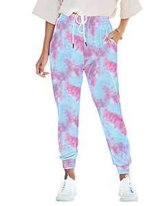 Seyorz Women's Joggers Pants Tie Dye Sweatpants Cuffed Soft Jogging Pants with Pockets Drawstring Design(Purple, X-Large)