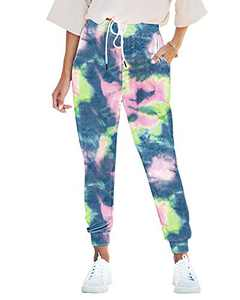 Seyorz Women's Joggers Pants Tie Dye Sweatpants Cuffed Soft Jogging Pants with Pockets Drawstring Design(Blue, Medium)